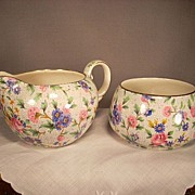 "Royal Winton ""Old Country Chintz"" Creamer and Sugar. Elite Mold - Red Tag Sale Item"