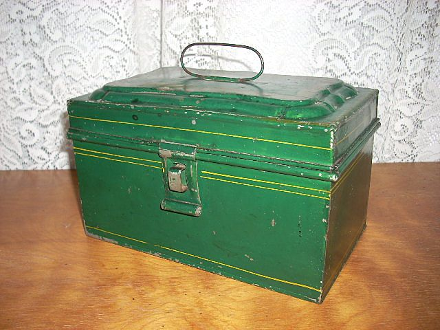 Dark Green Tole Tin Document Box