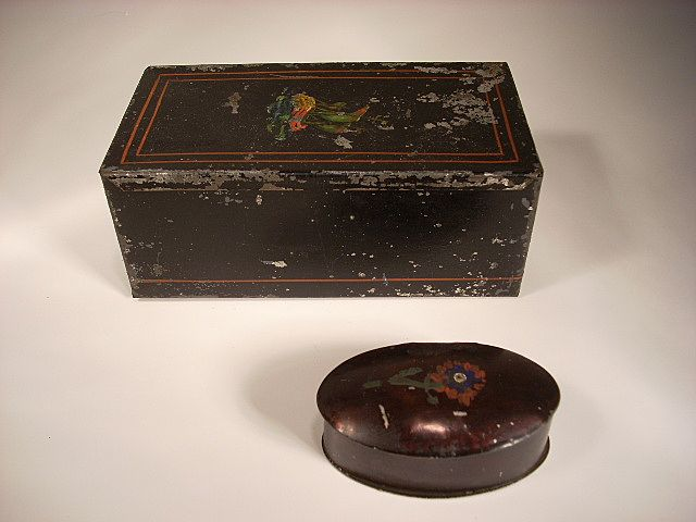 Two Early Tole Tin Boxes. Match or Cigarette and Oval Trinket