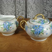 Bavarian Creamer and Sugar Bowl with Hand Painted Forget Me Nots - Red Tag Sale Item