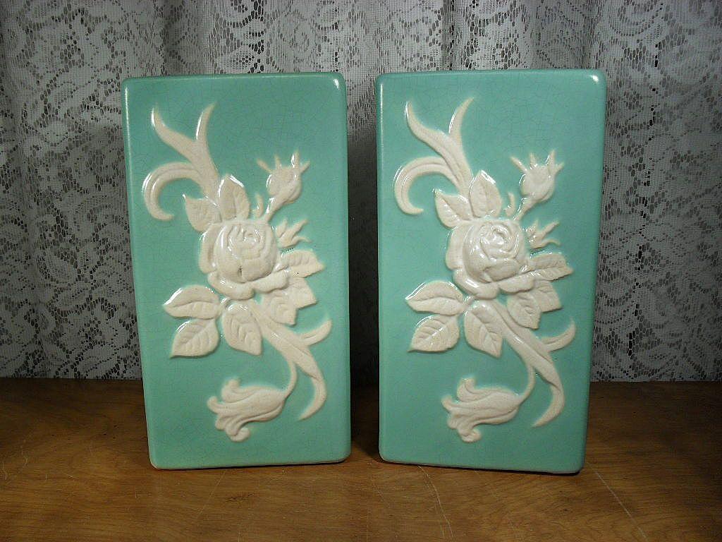 Pair of Weller Pottery Green Cameo Rectangular Vases 1930's