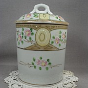 Hand Painted Porcelain Condensed Milk Container. Made in Japan