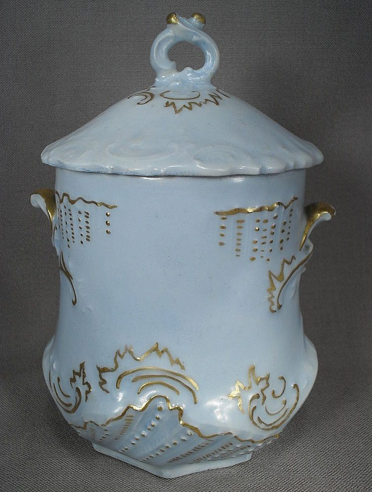 Lovely Light Blue Porcelain Condensed Milk Holder from 1902