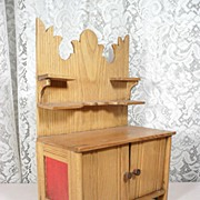 """Solid Oak Hutch for Dolls or Miniature Display - 11"""" Tall - On Sale!"""