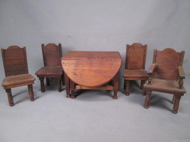 dining room furniture for dollhouse red stain table and 4 chairs