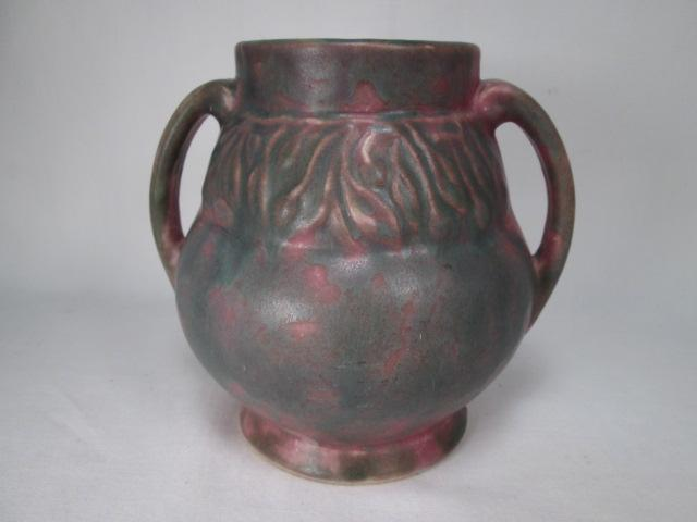 "Burley Winter Two-Handled Pot in Cranberry and Green 6"" Tall"