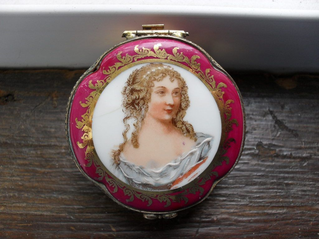 Limoges Porcelain Hinged Jewelry or Trinket Box with Portrait Transfer