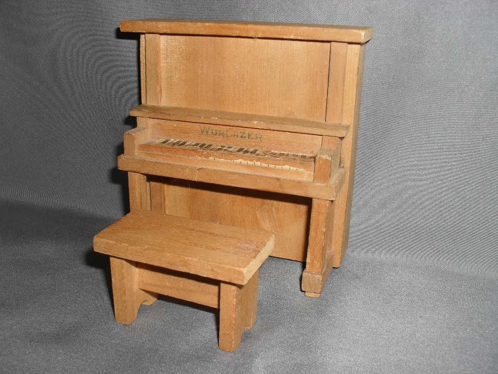 "Dollhouse Furniture - Upright Piano and Bench - 1930's - 1"" Scale"
