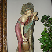 """Large Art Nouveau Chalkware Statue. Woman at the Well. 16 1/2"""" Tall"""