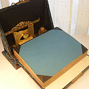 Cut Velvet Photo Album and Lap Desk Combination. Late Victorian Era