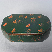 Small Ebonized Papier Mache Snuff Box with Hinged Lid