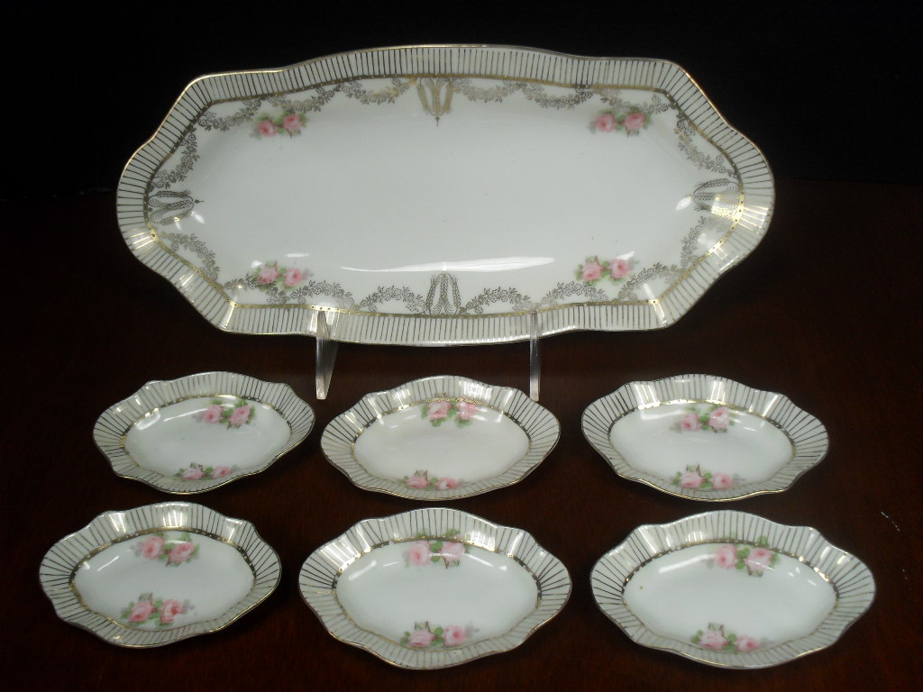 German Porcelain Celery Dish with 6 Salt Cellars. CS Prussia