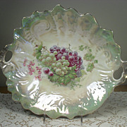 Large Handled Center or Fruit Bowl with Grape Transfer and Green Luster Trim
