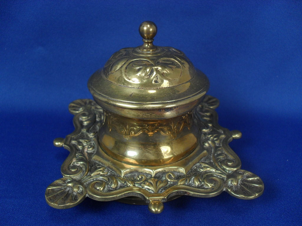 19th Century Brass Inkwell with Copper Well - Art Nouveau Aesthetic Era