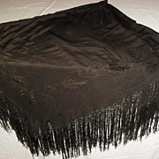 Large Black on Black Silk Piano or Table Scarf - Red Tag Sale Item
