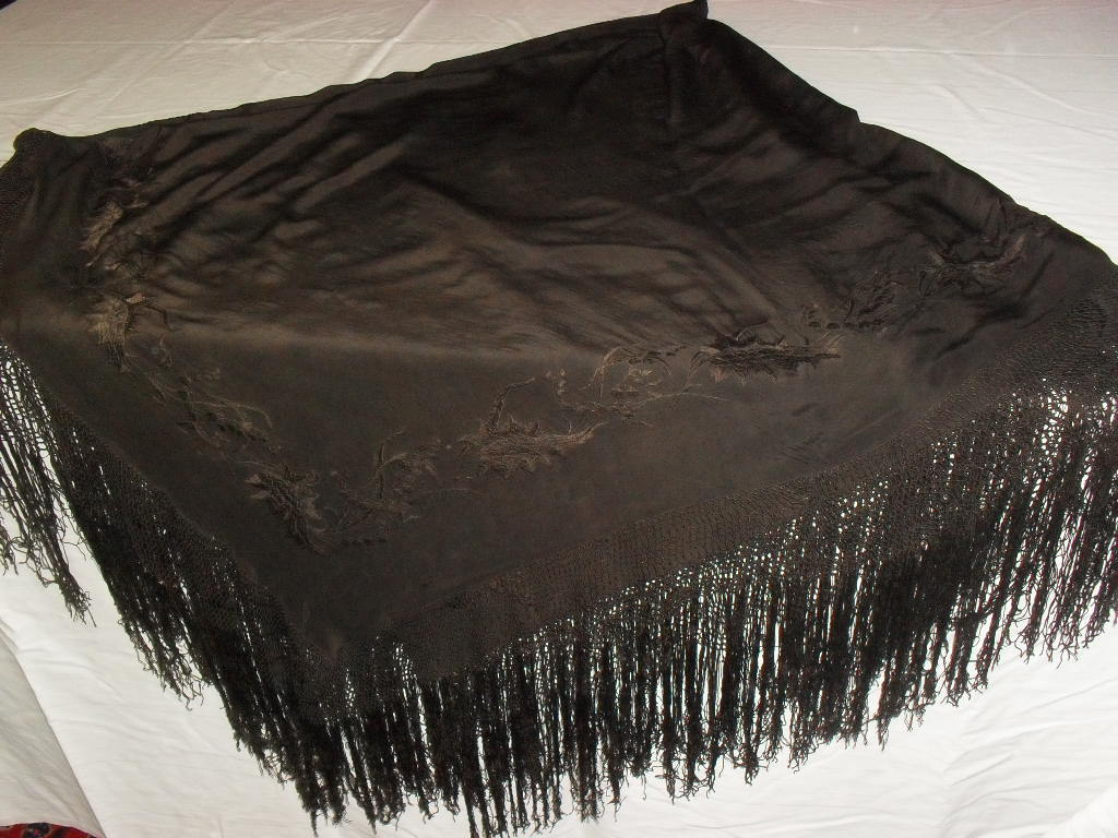 Large Black on Black Silk Piano or Table Scarf