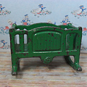 "Kilgore Metal Dollhouse Furniture - Rare Rocking Cradle - Green Enamel 3/4"" Scale"
