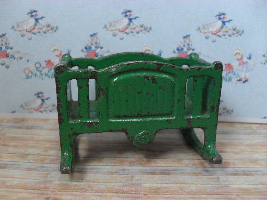 "Kilgore Metal Dollhouse Furniture - Rare Rocking Cradle - Green Enamel 3/4"" Scale"