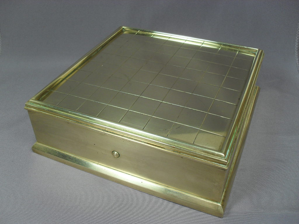 "Brass Writing Box with Inkwell, Candle - 6 1/2"" Square - Dated 1891"