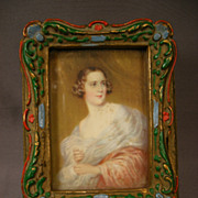 Small Wooden Dresser Box with Portrait Print