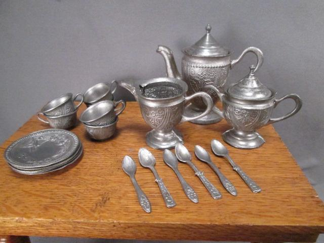 Miniature German Pewter Dishes - Complete Tea Set for Large Doll or Dollhouse - 25 Pieces