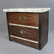 Antique Dollhouse Furniture - Biedermeier 2 Drawer Dresser Chest - Made in Germany
