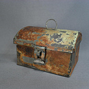 Miniature Tin Document Box  - Mid 1800's - For Display with Larger Doll