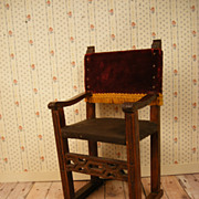"Old Doll or Dollhouse Chair - 6"" Tall - Leather and Velvet"