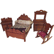 "Oak Doll House Bedroom Set in 1"" Scale - Star Novelty Works - American Toy Furniture - Early 1900's"