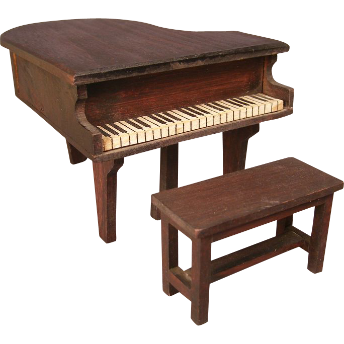 "German Red Stain Doll House Furniture - 1"" Scale Baby Grand Piano and Bench"