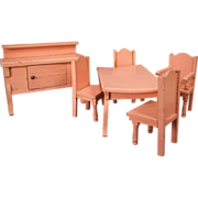 "Vintage Doll House Furniture - 3/4"" Scale Dining Room in Pink Enamel - German"
