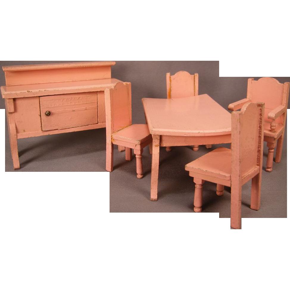 "Vintage Doll House Furniture - 3/4"" Scale Dining Room in Pink Enamel - German"