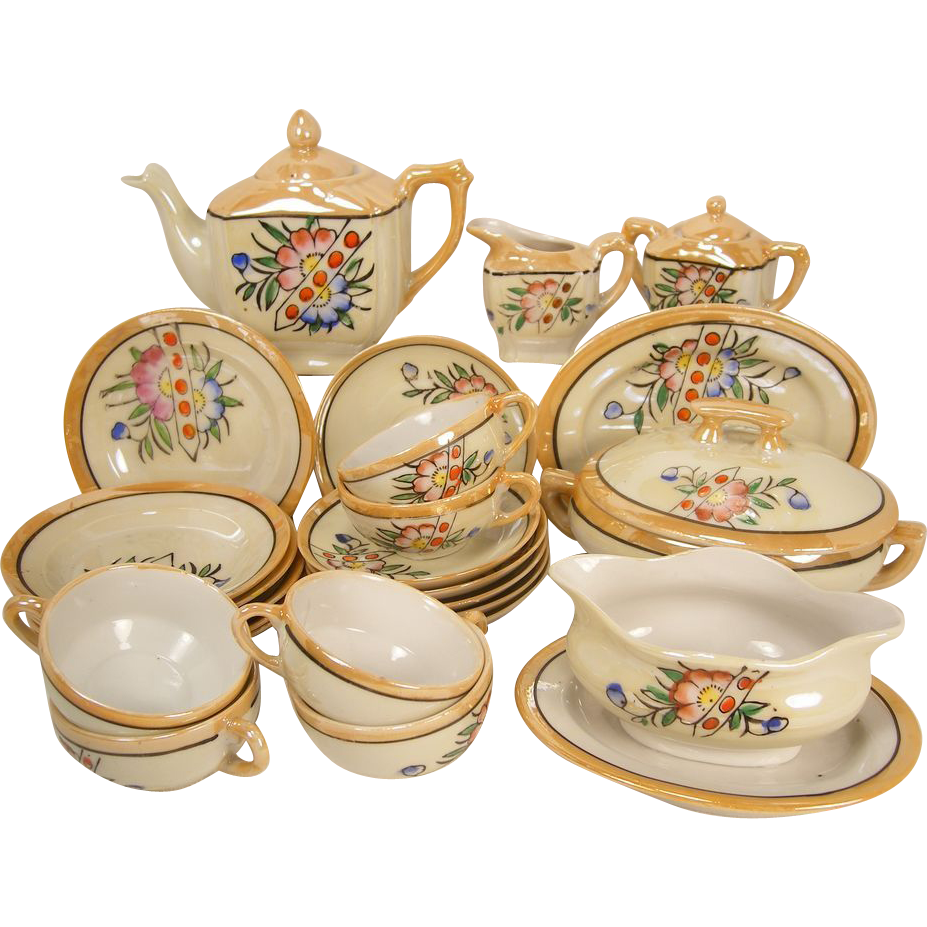 Children's Dishes - Lustre Tea Set - Complete 27 Piece Set with Serving Dishes