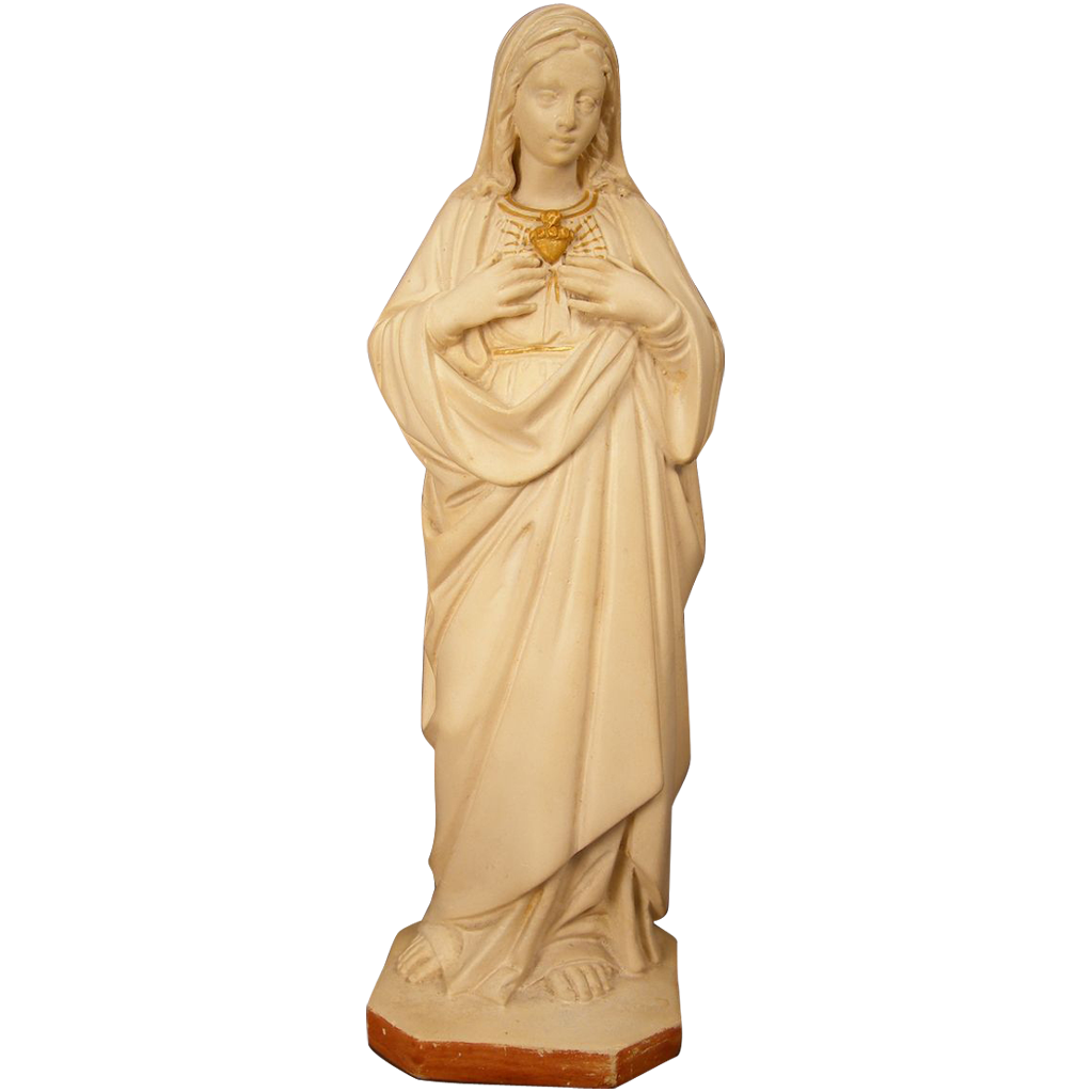 "Chalkware Statuette - Immaculate Heart of Mary - 10"" Tall"