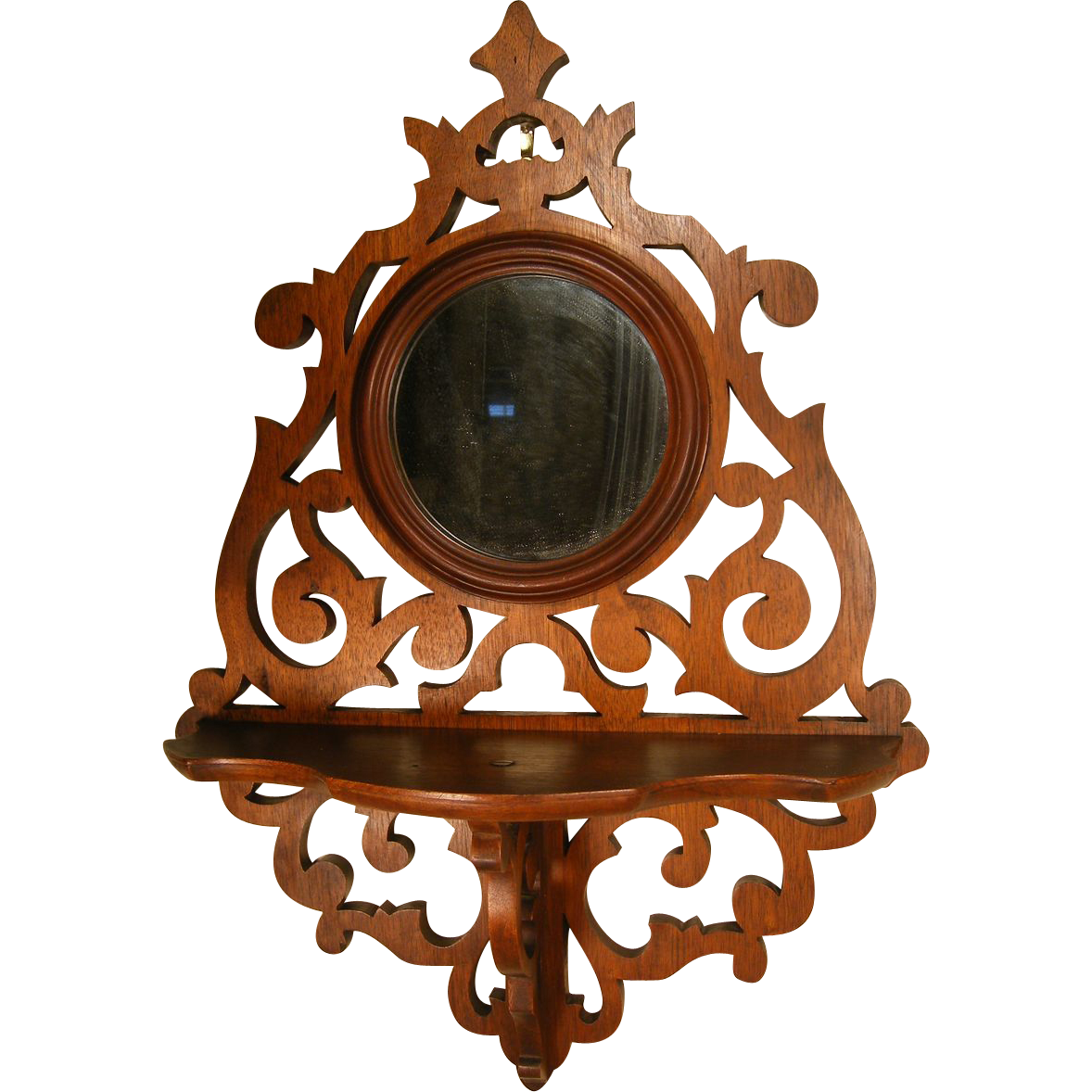 Victorian Walnut Fretwork Foyer Mirrored Shelf