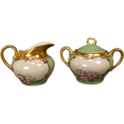 Hand Painted Porcelain Creamer and Sugar Bowl - Made in Germany
