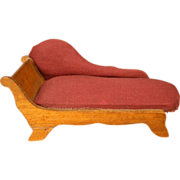 "Schneegas Golden Oak Dollhouse Furniture - Upholstered Settee Sofa - Small 3/4 "" Scale"