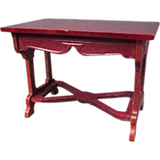 "Doll House Furniture - Schneegas Red Lacquer Table - Large 1"" Scale"
