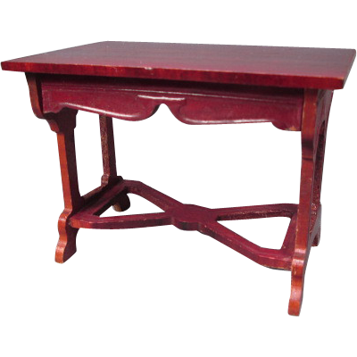 "On Layaway - Doll House Furniture - Schneegas Red Lacquer Table - Large 1"" Scale"