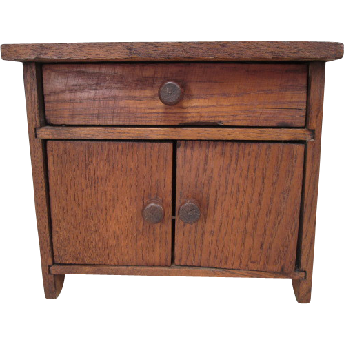 "Miniature Oak Sideboard or Cupboard for Small Dolls or Display - 6 1/2"" Tall"
