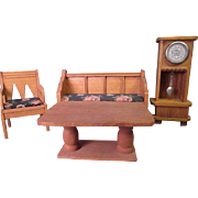 """German Dollhouse Parlor Furniture - Settee 2 Chairs Grandfather Clock and Table - Large 3/4"""" or Small 1"""" Scale"""
