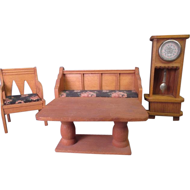 "German Dollhouse Parlor Furniture - Settee Chair Grandfather Clock and Table - Large 3/4"" or Small 1"" Scale"