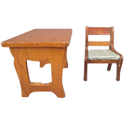 Schneegas Golden Oak Dollhouse Furniture - Small Table or Bench