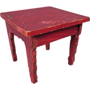 Red Lacquer Dollhouse Furniture - Small Square Table - Made in Germany