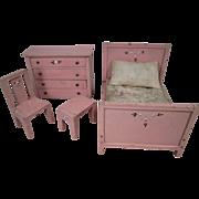 Reserved for J - Vintage Doll House Furniture - Bedroom Set - Larger Scale