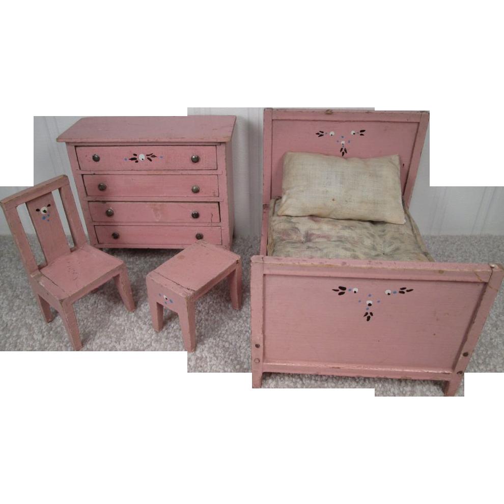Reserved For J Vintage Doll House Furniture Bedroom