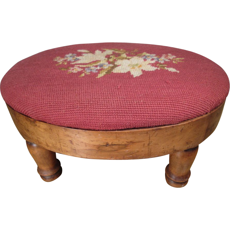 Oval Walnut Footstool with Needlepoint Cover