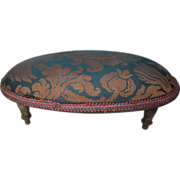 "Small Oval Foot Stool Labeled ""Cum Fut"" - Early 20th Century"
