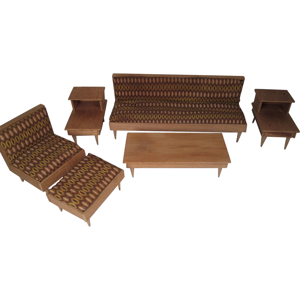 Vintage Play Scale Doll Furniture - 5 Piece Modern Living Room Set ...
