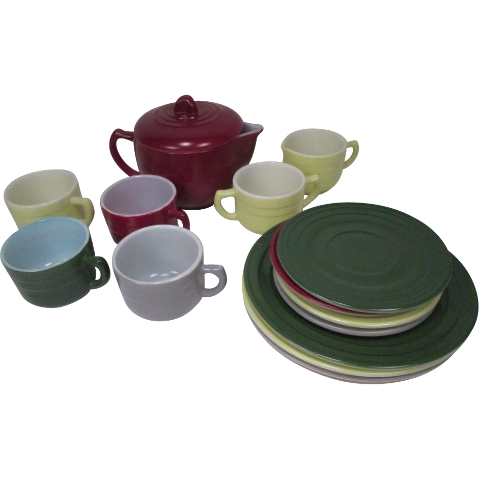 Hazel Atlas Little Hostess Tea Set - Sierra Pattern - Complete Set of 16 Pieces - (Moderntone)
